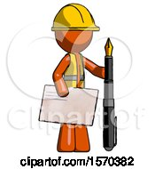 Orange Construction Worker Contractor Man Holding Large Envelope And Calligraphy Pen