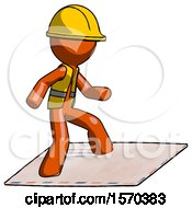 Orange Construction Worker Contractor Man On Postage Envelope Surfing