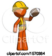 Orange Construction Worker Contractor Man Holding Football Up