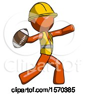 Orange Construction Worker Contractor Man Throwing Football