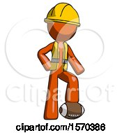 Orange Construction Worker Contractor Man Standing With Foot On Football