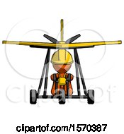 Orange Construction Worker Contractor Man In Ultralight Aircraft Front View