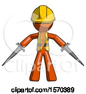 Orange Construction Worker Contractor Man Two Sword Defense Pose