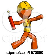 Orange Construction Worker Contractor Man Throwing Dynamite