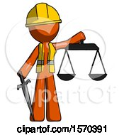 Orange Construction Worker Contractor Man Justice Concept With Scales And Sword Justicia Derived