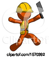 Orange Construction Worker Contractor Man Psycho Running With Meat Cleaver