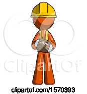 Orange Construction Worker Contractor Man Giving Football To You