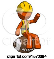 Orange Construction Worker Contractor Man Sitting On Giant Football