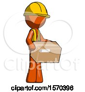 Orange Construction Worker Contractor Man Holding Package To Send Or Recieve In Mail