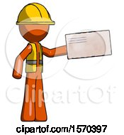 Orange Construction Worker Contractor Man Holding Large Envelope