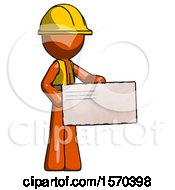 Orange Construction Worker Contractor Man Presenting Large Envelope