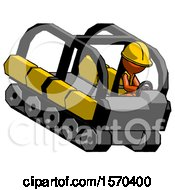 Orange Construction Worker Contractor Man Driving Amphibious Tracked Vehicle Top Angle View