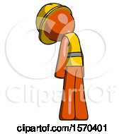 Orange Construction Worker Contractor Man Depressed With Head Down Back To Viewer Left