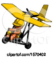Orange Construction Worker Contractor Man In Ultralight Aircraft Top Side View