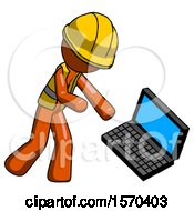 Orange Construction Worker Contractor Man Throwing Laptop Computer In Frustration
