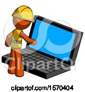 Orange Construction Worker Contractor Man Using Large Laptop Computer