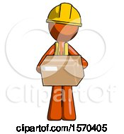 Orange Construction Worker Contractor Man Holding Box Sent Or Arriving In Mail