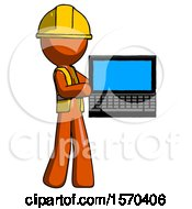 Orange Construction Worker Contractor Man Holding Laptop Computer Presenting Something On Screen