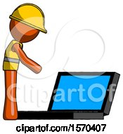 Orange Construction Worker Contractor Man Using Large Laptop Computer Side Orthographic View