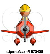 Orange Construction Worker Contractor Man In Geebee Stunt Plane Front View