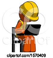 Orange Construction Worker Contractor Man Using Laptop Computer While Sitting In Chair Angled Right