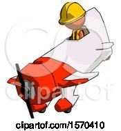 Orange Construction Worker Contractor Man In Geebee Stunt Plane Descending View