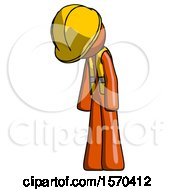 Orange Construction Worker Contractor Man Depressed With Head Down Turned Left
