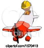 Orange Construction Worker Contractor Man In Geebee Stunt Plane Descending Front Angle View