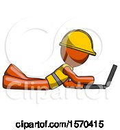 Orange Construction Worker Contractor Man Using Laptop Computer While Lying On Floor Side View