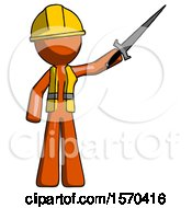 Orange Construction Worker Contractor Man Holding Sword In The Air Victoriously