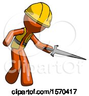 Orange Construction Worker Contractor Man Sword Pose Stabbing Or Jabbing