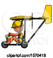 Orange Construction Worker Contractor Man In Ultralight Aircraft Side View