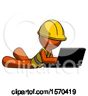 Orange Construction Worker Contractor Man Using Laptop Computer While Lying On Floor Side Angled View