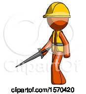 Orange Construction Worker Contractor Man With Sword Walking Confidently