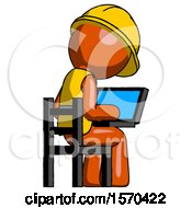 Orange Construction Worker Contractor Man Using Laptop Computer While Sitting In Chair View From Back