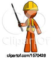 Orange Construction Worker Contractor Man Standing Up With Ninja Sword Katana