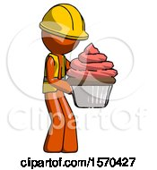 Orange Construction Worker Contractor Man Holding Large Cupcake Ready To Eat Or Serve