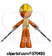 Orange Construction Worker Contractor Man Posing With Two Ninja Sword Katanas