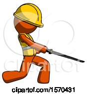 Orange Construction Worker Contractor Man With Ninja Sword Katana Slicing Or Striking Something