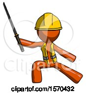 Orange Construction Worker Contractor Man With Ninja Sword Katana In Defense Pose