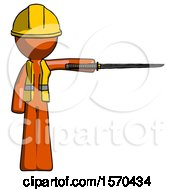 Orange Construction Worker Contractor Man Standing With Ninja Sword Katana Pointing Right