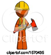 Orange Construction Worker Contractor Man Holding Red Fire Fighters Ax