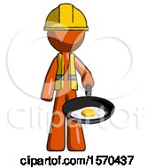 Orange Construction Worker Contractor Man Frying Egg In Pan Or Wok