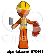 Orange Construction Worker Contractor Man Holding Large Steak With Butcher Knife