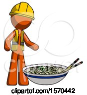 Orange Construction Worker Contractor Man And Noodle Bowl Giant Soup Restaraunt Concept