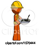Orange Construction Worker Contractor Man Holding Noodles Offering To Viewer