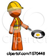 Orange Construction Worker Contractor Man Frying Egg In Pan Or Wok Facing Right