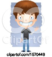 Clipart Of A Friendly Waving White Teen Boy Royalty Free Vector Illustration