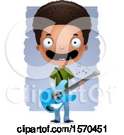 Clipart Of A Black Teen Boy Playing A Guitar Royalty Free Vector Illustration