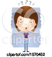 Clipart Of A Careless Shrugging White Teen Girl Royalty Free Vector Illustration